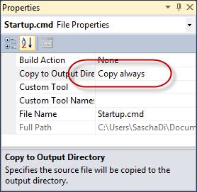 Dateieigenschaften - Copy to Output Directory