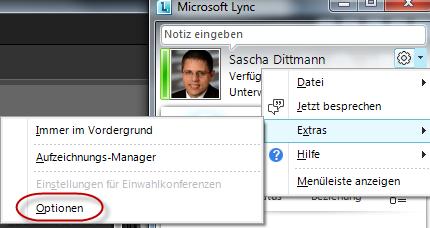 Lync Menü -> Extras -> Optionen