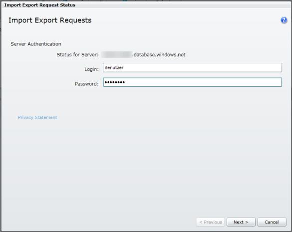Export / Import Status (Anmeldung)