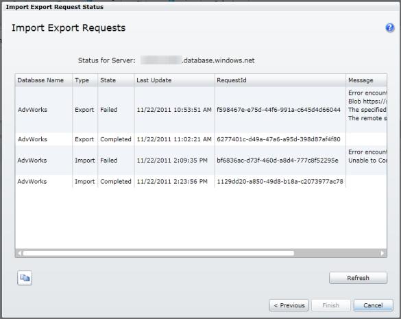 Export / Import Status (Log)