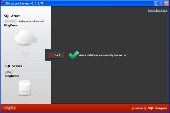 SQL Azure Backup - Datensicherung erfolgreich abgeschlossen