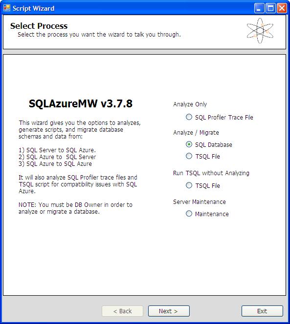 SQL Azure Migration Wizard - Optionen