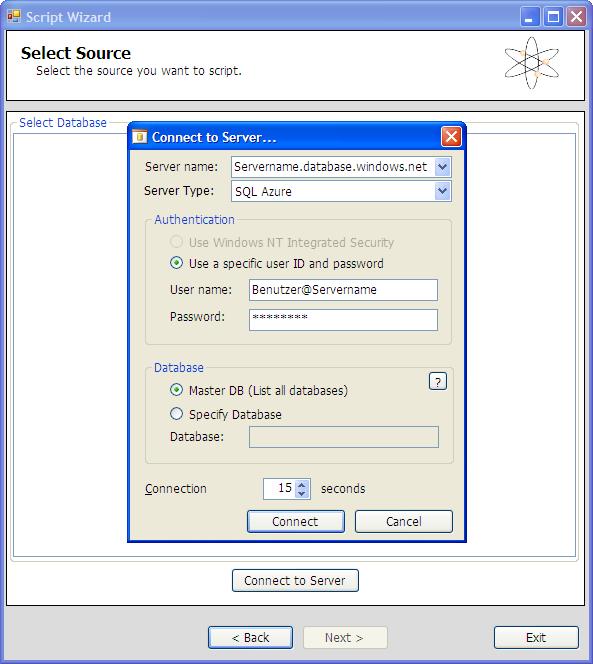 SQL Azure Migration Wizard - Quellserver