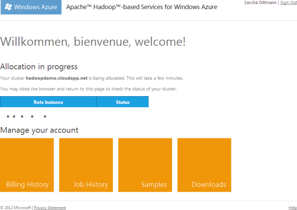 Apache Hadoop für Windows Azure - Clusterknoten werden erzeugt