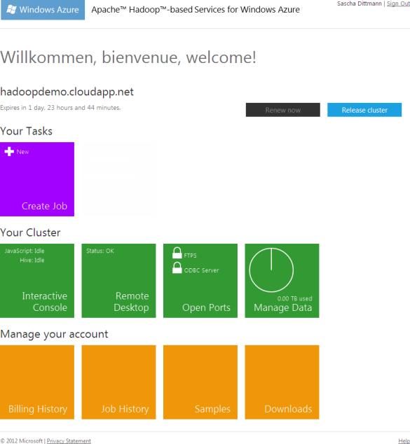 Apache Hadoop für Windows Azure - Clusterverwaltung