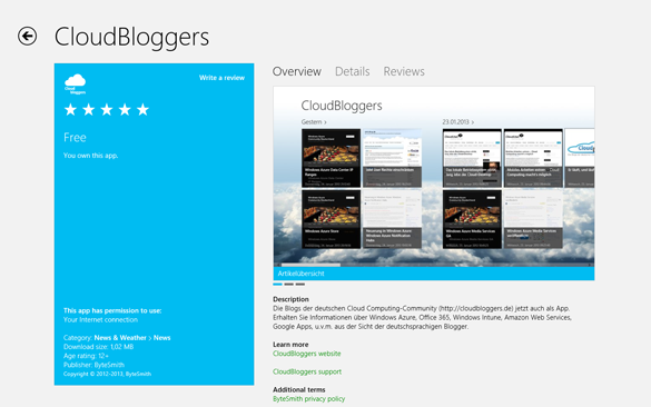 CloudBloggers App im Windows Store