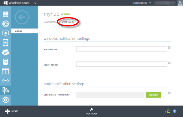Notification Hub Configure-Bereich
