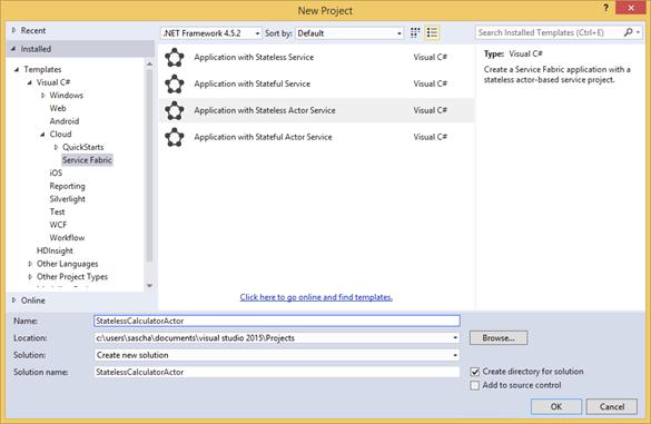 Visual Studio: Stateless Actor Vorlage