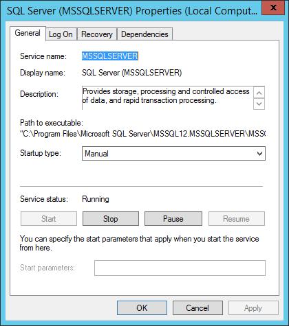 Start-Typ des SQL Servers aus Manuell umstellen