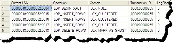Transaction Log Einträge der aktuellen Transaktion