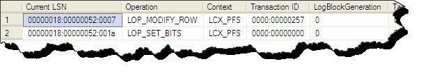 Transaction Log Einträge für die PFS Page