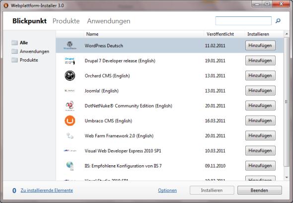 Microsoft Web Platform Installer - Startdialog