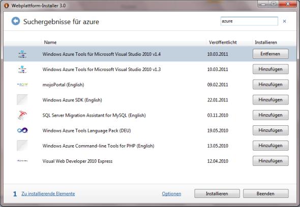Microsoft Web Platform Installer - Suchergebnisse
