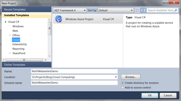 Projektvorlage: Windows Azure Project