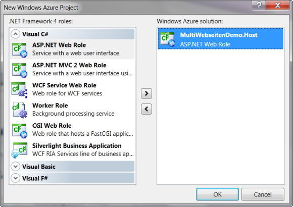 Windows Azure Rollen Dialog