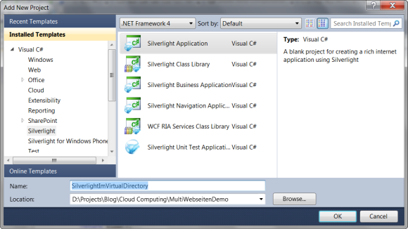 Projektvorlage: Silverlight Application