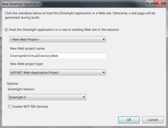 Web Applikation hinzufügen für das Silverlight Projekt