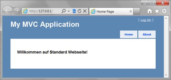 Startseite des 'StandardWebseite' Projektes