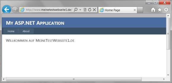 Startseite des 'MeineTestWebseite1' Projektes