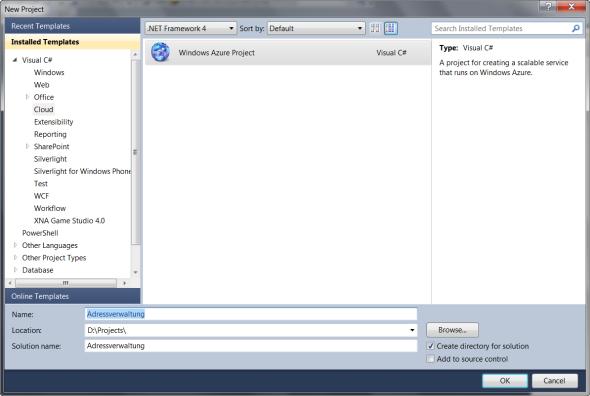 Die Windows Azure Projektvorlage