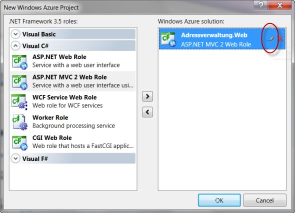 Auswahl der Windows Azure Rollen