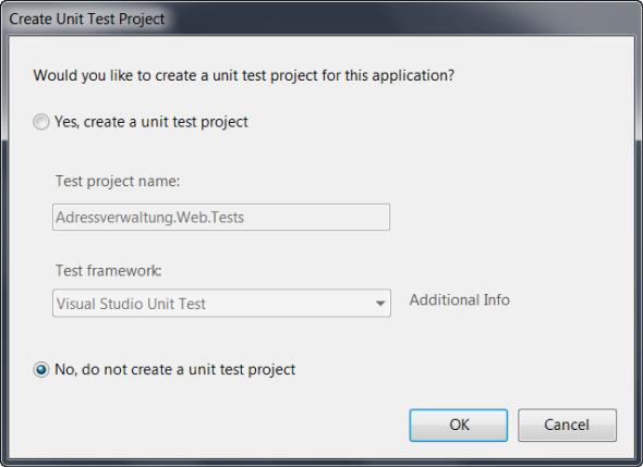 ASP.NET MVC 2 - Soll ein Test Projekt erstellt werden?