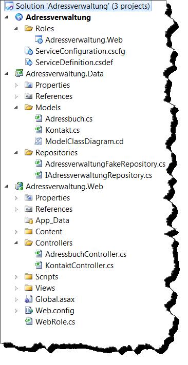 Solution Explorer - Adressverwaltung