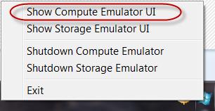 Windows Azure Emulator - Kontextmenü