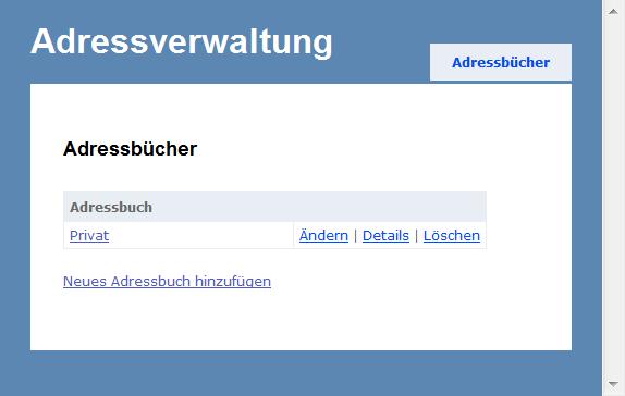 Adressverwaltung - Adressbuch-Übersicht