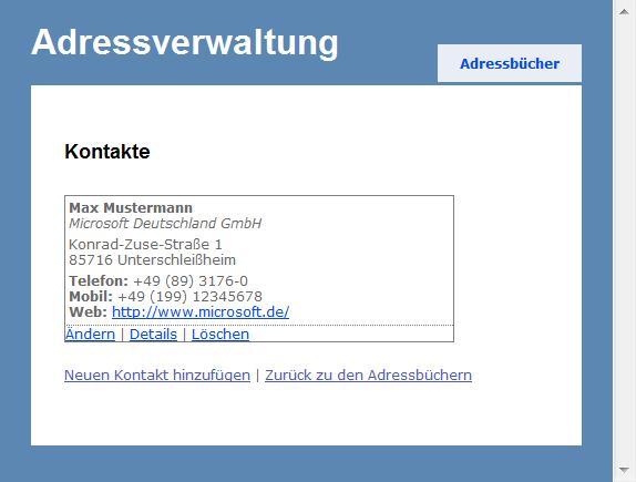 Adressverwaltung - Kontakt-Übersicht