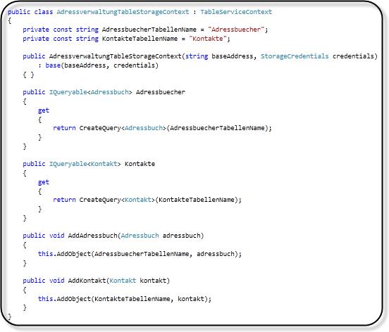 Adressverwaltung - Table Storage Kontextklasse