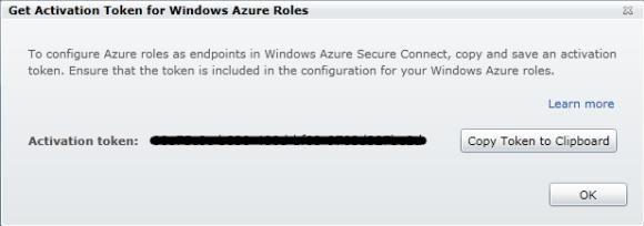 Windows Azure Connect - Get Activation Token