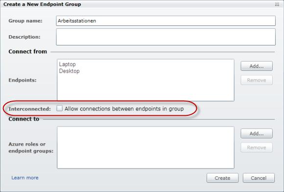 Windows Azure Connect - Erstelle Gruppe - Arbeitsstationen