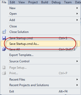 Visual Studio 2010 Menü - File - Save As...