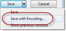 Save Button Contextmenü - Save with Encoding...