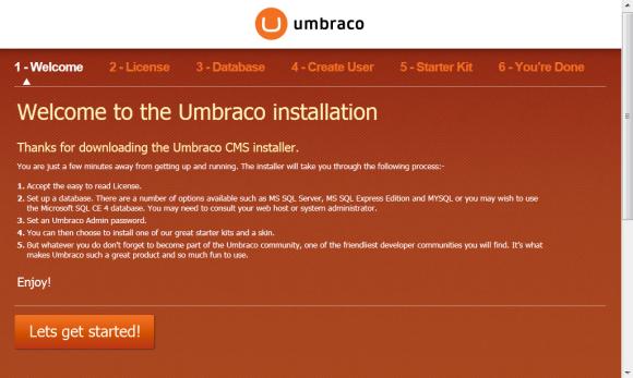Umbraco Installation - Willkommensseite