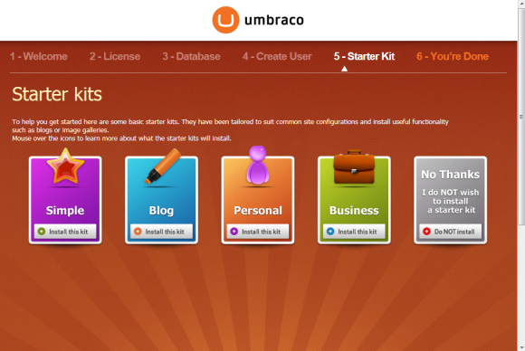 Umbraco Installation - Auswahl Starter Kits