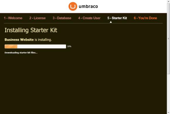 Umbraco Installation - Installation des Starter Kits