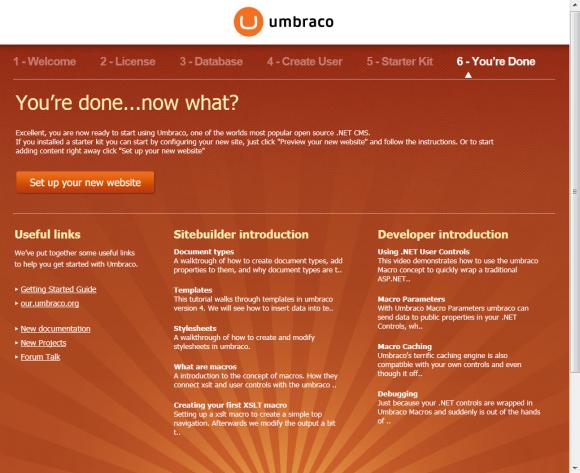 Umbraco Installation - Ende der Installation