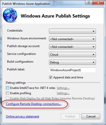 Publish Windows Azure Application