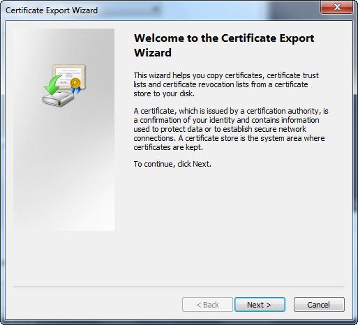 Certificate Export Wizard - Welcome