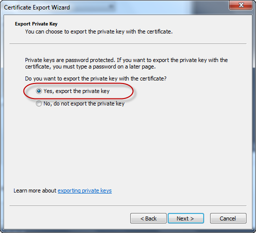 Certificate Export Wizard - Private Key