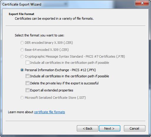 Certificate Export Wizard - File Format