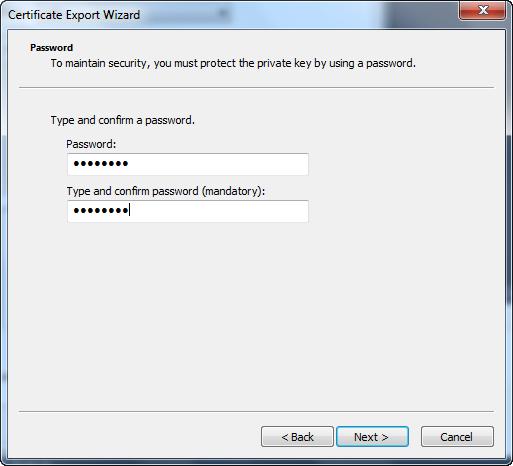 Certificate Export Wizard - Password