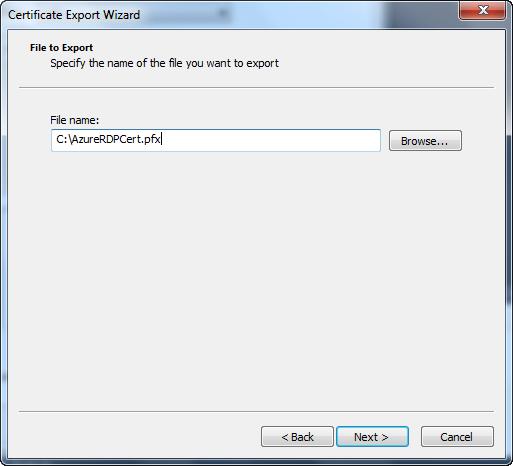 Certificate Export Wizard - File Name