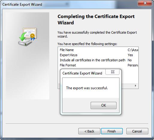 Certificate Export Wizard - Summary