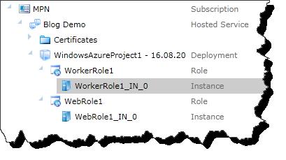 Windows Azure Portal - Role Instance Selected