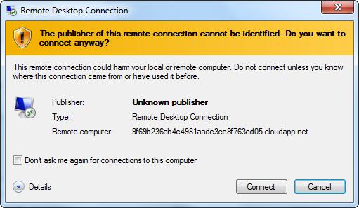 Remote Desktop Connection - Warning