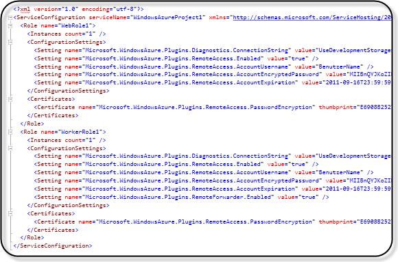 Azure Service Configuration File