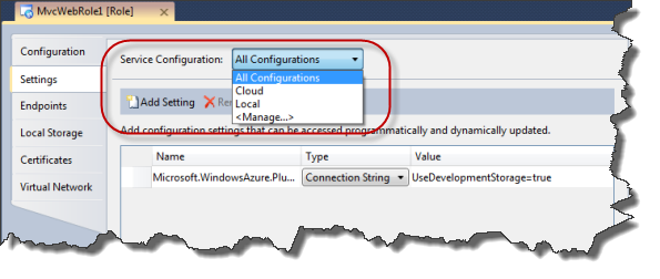 Windows Azure Project Settings